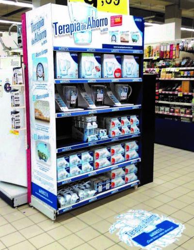Forro para cabecero lineal supermercado fabricado con vinilo suelo, polipropileno celular, pvc espumado, etiqueteros