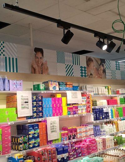 Lineal supermercado cosmetica, cabecero fabricado en pvc impreso