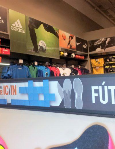 Comunicación visual para tienda de deportes, pvc foam impreso e imán flexible impreso para cabeceras intercambiables